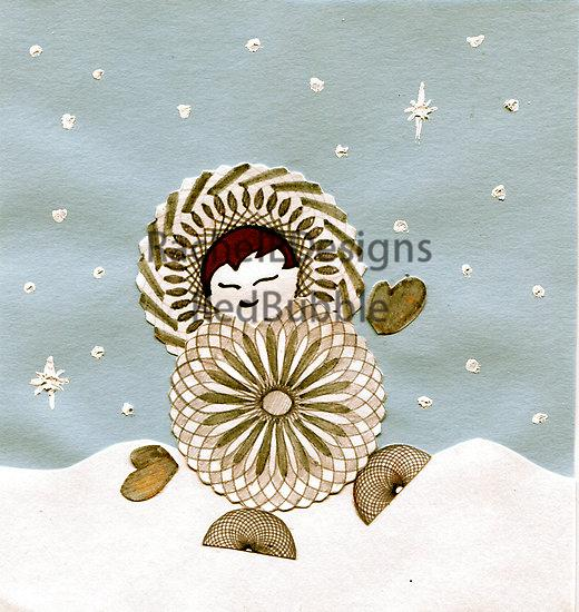 RedBubble cards/posters: Boy playing in the winter snow